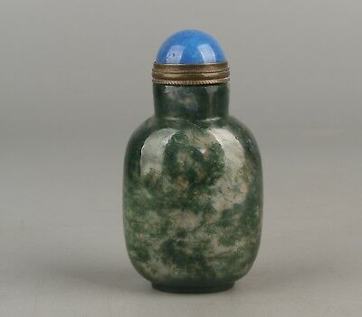 Chinese Exquisite Handmade Moss Agate snuff bottle
