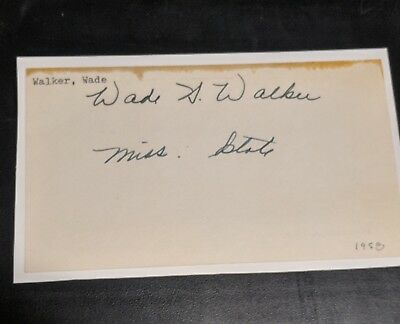 Wade Walker signed 3x5 index, Oklahoma Sooners, OU, Autograph. Died 2013.