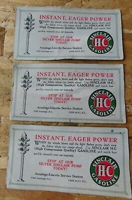 Lot 3 Vtg 1940's Sinclair Gas Station Advertising Cards !!