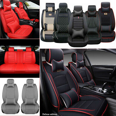 PU Leather Car Seat Cover Cushion Full Set 5-Seats SUV Front & Rear Universal US