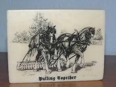 Montana Marble Etched Picture Pulling Together Draft Horses Farm Scene