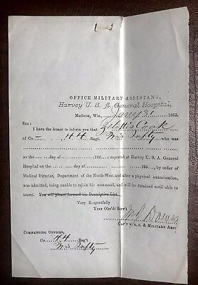 Wisconsin Civil War Document Harvey Hospital Madison 44th Infantry 25th Inf.
