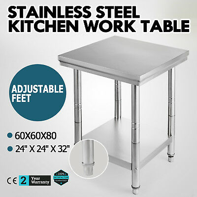 60X60cm Commercial Stainless Steel Kitchen Work Bench Food Prep Table Top