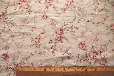"""Antique c1880-1890 Pretty Roses & Garlands Printed Cotton Fabric~16"""" X 29""""~Dolls"""