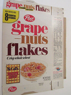 Post Grape Nuts Flakes McCall's Pattern Offer on Back Cereal Box 1971