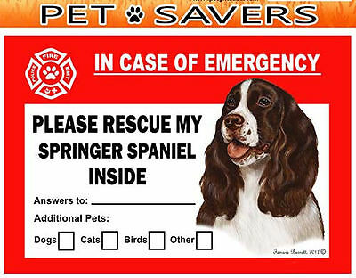 Springer Spaniel Pet Savers Emergency Rescue Window Cling Sticker