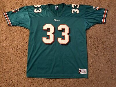 Vintage Champion Abdul Jabbar #33 Miami Dolphins Football Jersey Size 52 Lakers