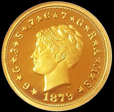 1879 $4 Stella Coiled Hair  ☆ Proof Deep Cameo ☆ 24K Gold Plated ☆ Perfect Coin
