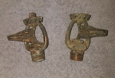 Antique Vintage ESTY Pair Brass Fire Sprinkler Heads 1910 / Spinning Deflector