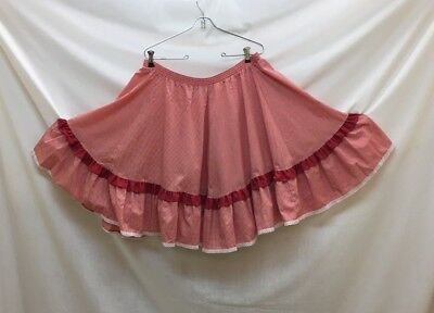 Square Dance Skirt + 2 Blouses & Belt, Red & White, Large, Good Condition