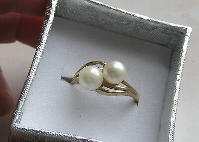 Vintage 14K Gold Double Akoya Pearl Ring, size 7, 2.46 grams