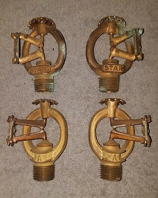 Antique Vintage Star / Automatic Lot of 4 Fire Sprinkler Brass Heads Metal