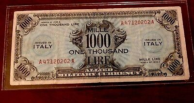 Rare WW2 Allied Military Currency 1000 Lire Issued In Italy