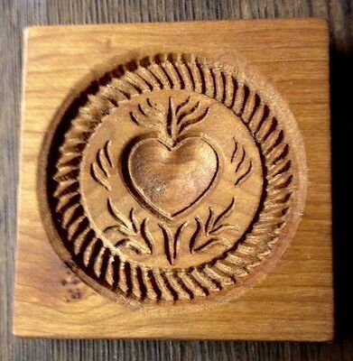 Heart - Wood Carved Springerle Cookie Mold - Handmade Usa