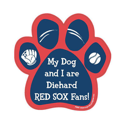 My Dog And I Are Diehard Boston Red Sox Fans Baseball Dog Paw Car Magnet