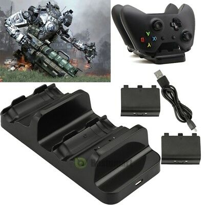For Xbox One S Dual Charging Dock Controllers Charger with 2Rechargeable Battery