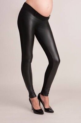 Seraphine Faux Leather Panel Maternity Leggings
