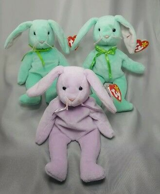 Ty Beanie Baby Babies 3 pastel bunnies HIPPITY & FLOPPITY Adorable Retired 1996