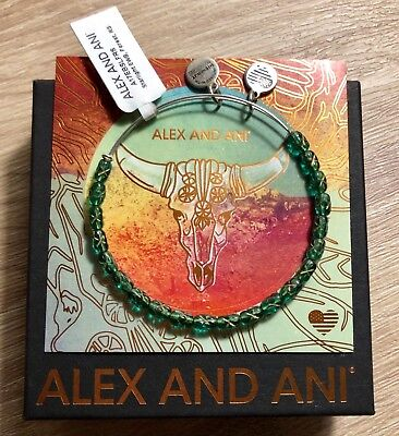 """$10 OFF — ALEX AND ANI Starlight """"Forest"""" Kelly Green Beaded Bangle Silver NWTBC"""