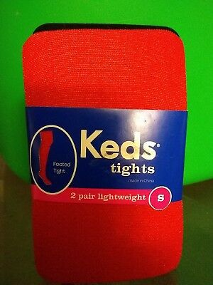 Girls Keds Brand Red & Black 2 Pk Shiny Sparkle Fashion Footed tights Small 4-6