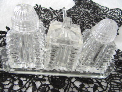 Antique , 4 Pce, Czech Crystal Cruet Set With  Crystal Tray