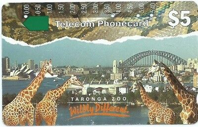Rare Prefix 88: $5 Taronga Zoo Giraffes Telstra Phonecard