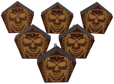 IBA Skull Engraved Wooden Cupboard Door Knobs Pull Handle Pack of 10-TEP11C