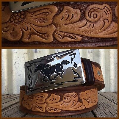 CHAMBERS USA Hand Painted TOOLED LEATHER WESTERN BELT Nickel Brass HORSE BUCKLE