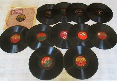 "Lot Of 12 X Vintage 78 Rpm Shellac 10"" Inch Records – Regal Decca Columbia & His"