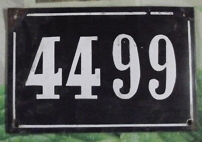 Large old black French house number 4499 door gate wall plate enamel metal sign
