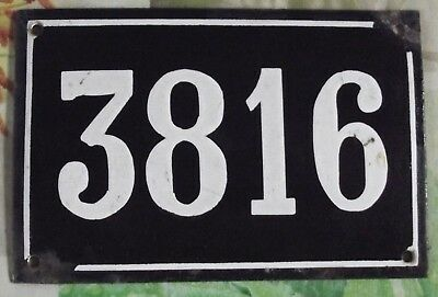 Large old black French house number 3816 door gate wall plate enamel metal sign