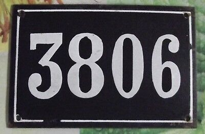 Large old black French house number 3806 door gate wall plate enamel metal sign