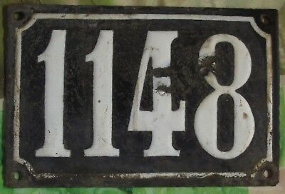 Large old black French house number 1148 door gate wall plate enamel metal sign