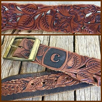 VINTAGE Boho HAND TOOLED LEATHER BELT Brass Buckle CUTOUT DESIGN Initial C