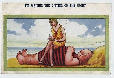 I'm Writing This Sitting on the Front! Vintage Comic Postcard A26