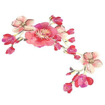 Flower Long Sticker DIY Clothing Applique Blossom Sew On Cloth Floral Embroidery