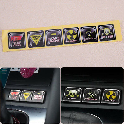 6 x Funny Car Decoration Waterproof car internal Button Sticker And Decals