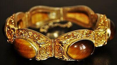 Vintage Chinese Gold Plated / Silver 900/1000 Tiger's Eye  Bracelet