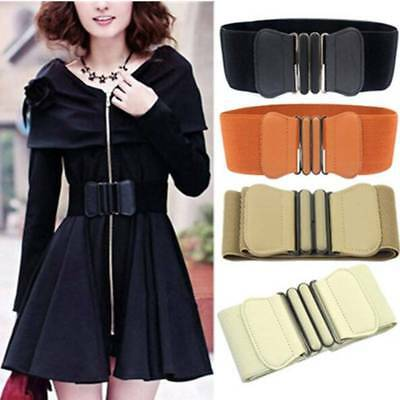 Womens Ladies Fashion Faux Leather Wide Elastic Buckle Thin Waist Belt UK