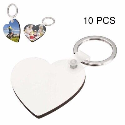10X Heart Blank MDF Board Sublimation Printing Keyring for Heat Press Machine UK