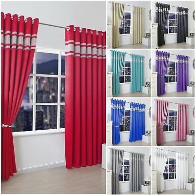 Thermal Blackout Ready Made Diamante Diamond Eyelet Ring Top Embossed Curtains