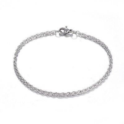 10pc 304 Stainless Steel 2.5mm Rope Chain Bracelets with Clasps for Women 200mm