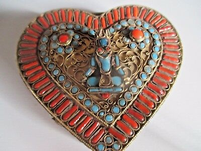 OLD TIBETAN  BOX (inlaid in turquoise, coral and lapis)   1900 CIRCA GOOD COND