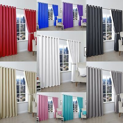 Thermal BLACKOUT PLAIN CURTAINS Eyelet RING TOP Ready Made ALL SIZES COLOURS