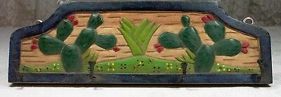 Rustic Hand Carved Acacia Wood Key Rack 4 hooks Cacti Desert Made in Mexico