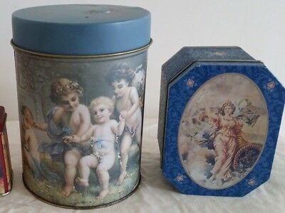Children Playing & Lady Biscuit Tins (postage OK)
