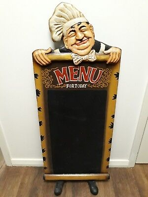 Timber Frame CHALKBOARD MENU BOARD with CHEF TOP & EASEL STAND, Bistro Cafe Home