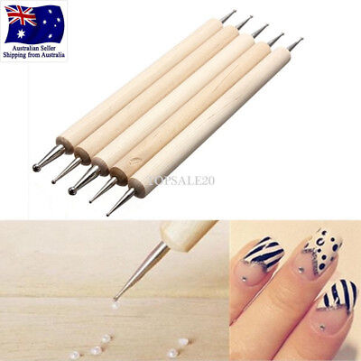 5Pcs Nail Art Dotting Dot Pen Pro 2-Way Painting Manicure Tools