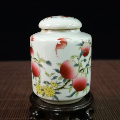 Delicate Chinese Rose Porcelain Hand-Painting Peach Tea Caddy