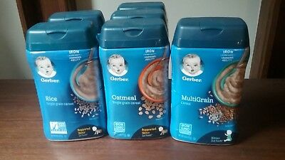 2 Gerber Rice Single Grain Cereal for Baby ,3 Oatmeal, and 1 Multi Grain , 8 oz